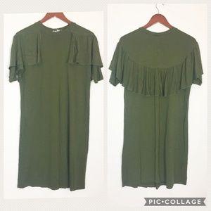 ASOS | Size 4 Hunter Green Ruffle Dress